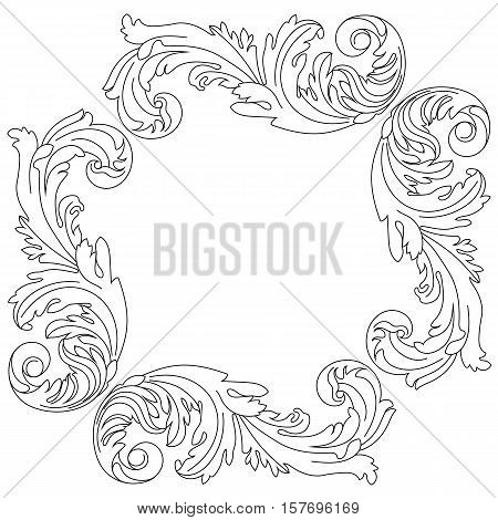 Vintage ornament,  border ornament,  frame ornament, engraving ornament, pattern ornament, antique baroque ornament, leaves ornament, decorative ornament. Vector.