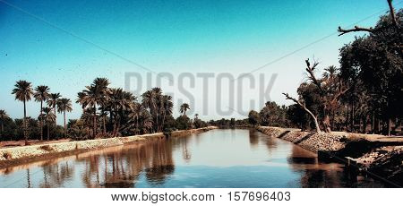One of the canals of the River Indus, photo taken in Khairpur, Sindh, Pakistan