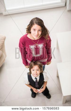 Girl and little cute boy