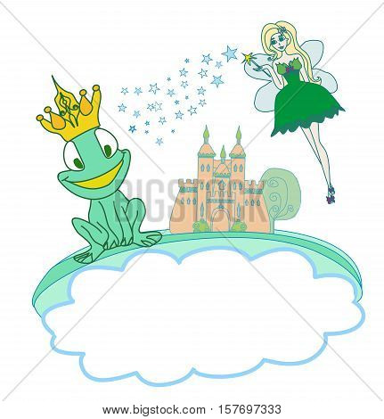 Frog Prince Cartoon Character and beautiful fairy , vector illustration