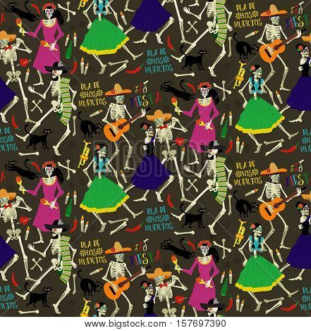 Seamless pattern with skeletons. The skeleton dance.