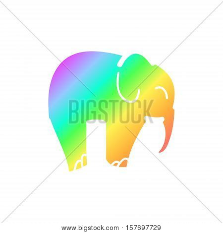 Rainbow elephant silhouette on a white background. Vector illsutration