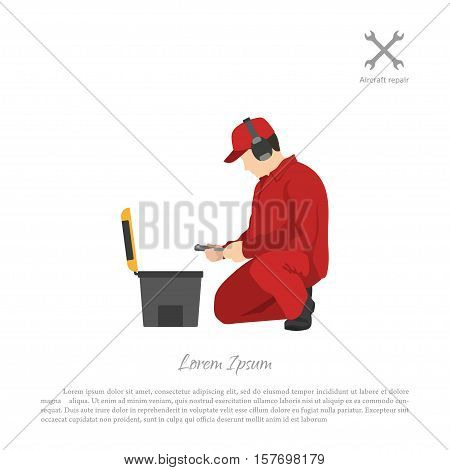 Repair and maintenance of aircraft. Aviation engineer with a tool box. Vector illustration