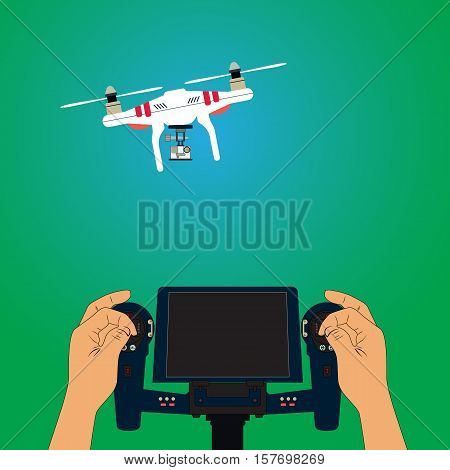 Man controls quadcopter. Hand held remote control. Shooting video and photos from the heights flight of unmanned aerial vehicles.
