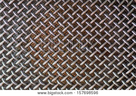 Microphone Dual chrome metal mesh macro photo