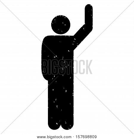 Hitchhike Pose grainy textured black icon for overlay watermark stamps. Flat symbol with unclean texture. Dotted vector ink rubber seal stamp with grunge design on a white background.