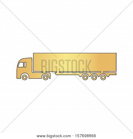 Big Truck Gold vector icon with black contour line. Flat computer symbol