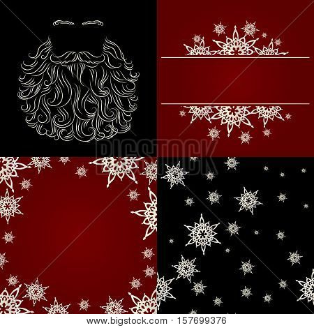 set of cristmas background greeting card snowflake seamless background santa beard silhouette red black white