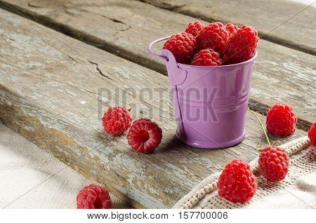 Harvest. Ripe Raspberries. The Summer Season.