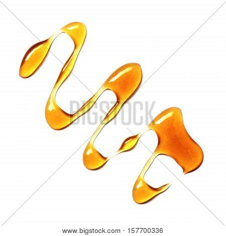 Honey stains isolated on white background.Spots.View top
