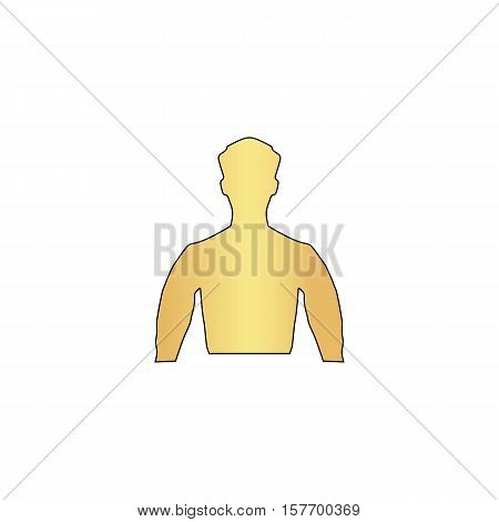 Unknown male Gold vector icon with black contour line. Flat computer symbol
