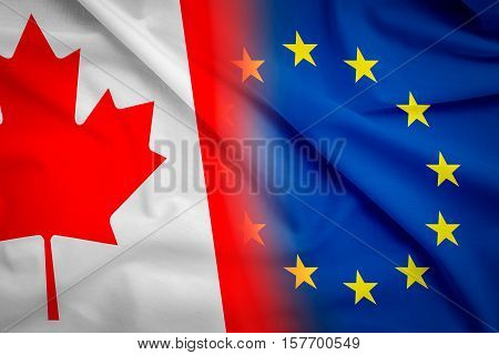canada canadian partner european union euro eu rights usa ceta flag negotiation europa trade ttip economic concept - stock image