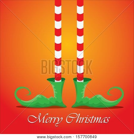 vector creative merry christmas greeting card with cartoon elfs legs, elf shoes and christmas stripped stocking on orange background . Vector merry christmas background