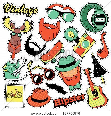 Hipster Vintage Fashion Stickers, Patches, Badges set with Beards, Mustache and Deer. Vector Doodle in Comic Style