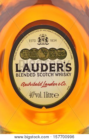 CIRCA NOVEMBER 2016 - GDANSK: Lauders blended scotch whisky. It is distilled blended and bottled in Scotland by Archibald Lauder and co in Glasgow that was established in 1834.