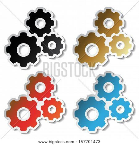 Vector sprocket stickers on white background - illustration