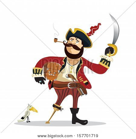 Vector - Pirate captain cartoon with parrot  illustration.