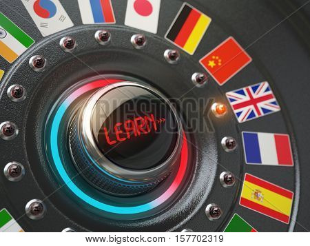 Online learning language concept. Switch knob button with flags. 3d illustration