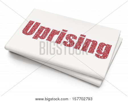 Politics concept: Pixelated red text Uprising on Blank Newspaper background, 3D rendering