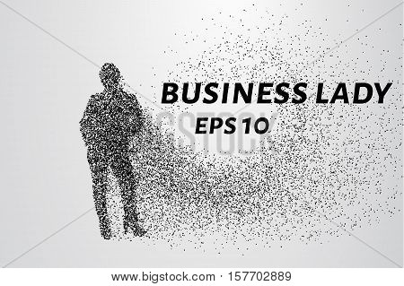 Business woman of the particles. Business woman consists of small circles. Business woman breaks down into molecules