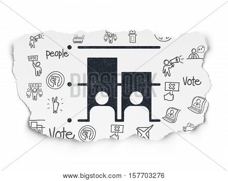 Politics concept: Painted black Election icon on Torn Paper background with  Hand Drawn Politics Icons
