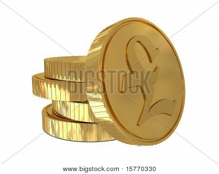 Pound sign in golden coin