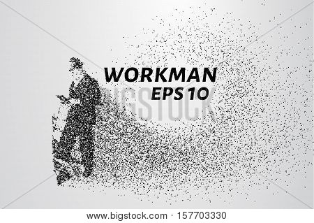 Working man from the particles. The worker consists of dots and circles. Vector illustration.
