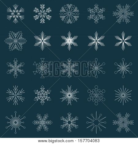 set of 25 white vector snowflakes on very dark blue background