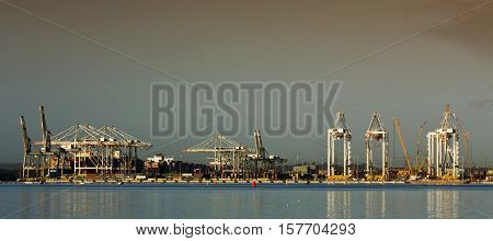 Portscape of the Southampton port in wide angle