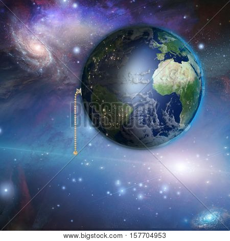 Earth with night and day with pull switch 3d Render  Some elements provided courtesy of NASA