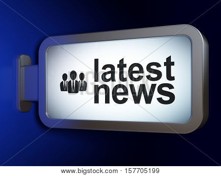 News concept: Latest News and Business People on advertising billboard background, 3D rendering