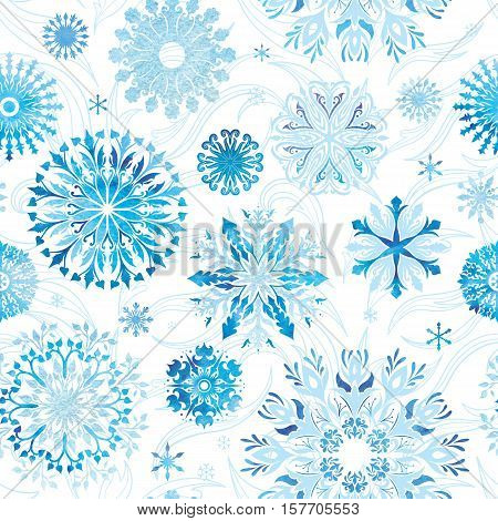 Seamless Christmas winter texture with eco crystals on white background for paper and textile design