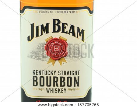 CIRCA NOVEMBER 2016 - GDANSK: Jim Beam bourbon whiskey isolated on white background. Jim Beam is owned by Beam Global Spirits and wine and it has been destiled in Clermont, Kentucky USA since 1795
