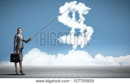 Attractive businesswoman holding on lead cloud dollar currency symbol