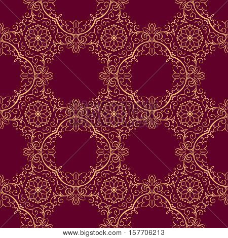 Damask seamless gold-crimson royal floral pattern