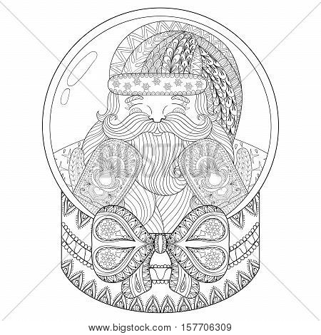 Vector zentangle Christmas snow globe with Santa Claus. Hand drawn snowglobe for adult coloring book, pages, art therapy. Illustration for New Year 2017, posters and greeting cards