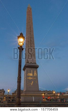 The Luxor obelisk is a 23 metres high Egyptian obelisk standing at the center of the place de la Concorde in Paris France.It was originally located at the entrance to Luxor Temple in Egypt.It is classified as historical monument.