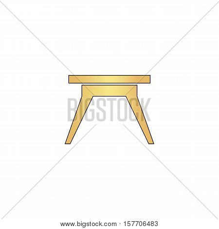 Camping table Gold vector icon with black contour line. Flat computer symbol