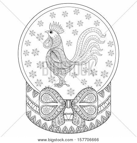 Vector zentangle Christmas snow globe with rooster, snowflakes. Hand drawn snowglobe for adult coloring book, pages, art therapy. Illustration for New Year 2017, posters and greeting cards