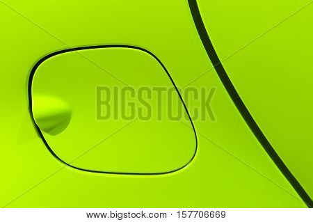 Petrol cap cover of bright green sport sedan car, side part with door of vehicle bodywork, auto industry