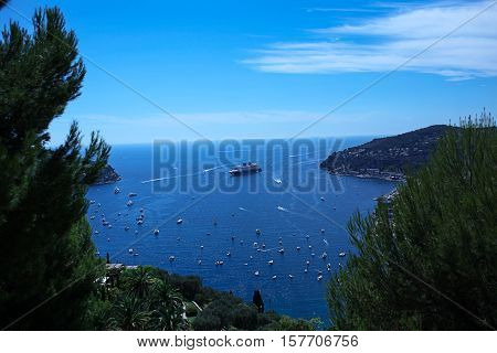 Lanscape Of Riviera Coast, Turquiose Water And Blue Sky Of Cote Dazur At Summer Day, France, Retro T