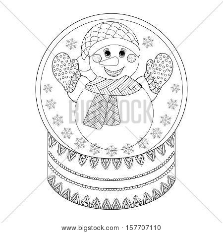 Vector zentangle Chriatmas snow globe with snowman. Hand drawn ethnic decorative snowglobe for adult coloring book. Illustration for New Year 2017, posters and greeting cards