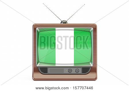 TV with flag of Nigeria. Nigerian Television concept 3D rendering isolated on white background