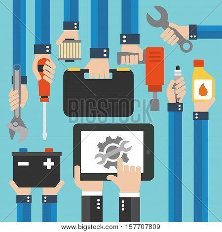 Car Online service and repairing equipment modern design flat .Vector illustration