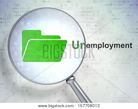 Finance concept: magnifying optical glass with Folder icon and Unemployment word on digital background, 3D rendering