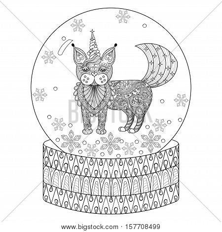 Vector zentangle snow globe with magic cat like unicorn. Hand drawn ethnic Catcorn for adult coloring book. Vector illustration for New Year 2017 posters and greeting cards