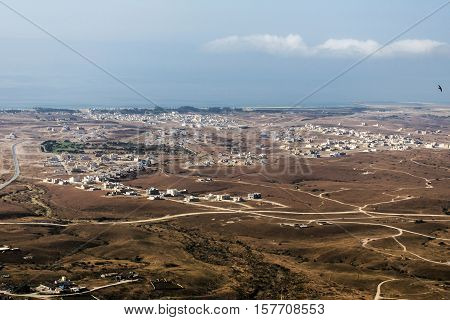 Aerial View over city Taqah Sultanate of Oman region Dhofar Salalah