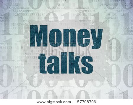 Finance concept: Painted blue text Money Talks on Digital Data Paper background with   Binary Code