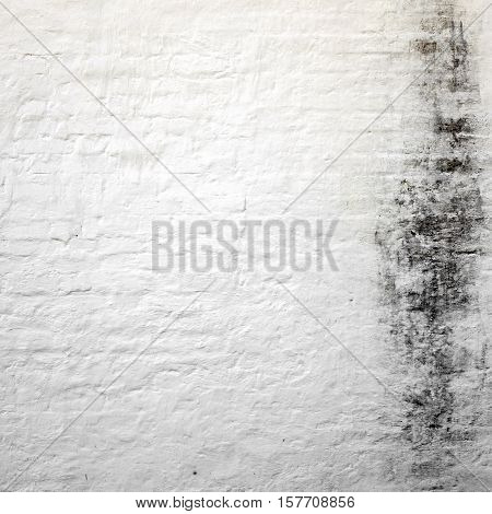 Abstract Rectangular White Texture. White Washed Old Brick Wall With Stained And Shabby Uneven Plaster. Painted White Grey Brickwall Square Background. Home House Room Interior Design.