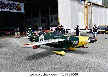 CHONBURI - NOVEMBER 20 : Shoestring aircraft in Air Race 1 Thailand at U-Tapao International Airport on November 20 2016 in Chonburi Thailand.